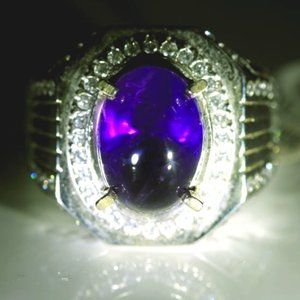 Amethyst 6.60ct Platinum Solid Silver Ring